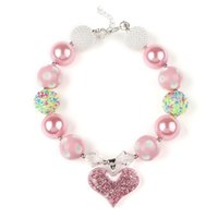 Wholesale Bubblegum Pink - PrettyBaby Europe Valentine Chunky Necklace kids pink Heart Pendant Chunky Bubblegum Necklace Girls Jewelry DIY Beads Choker Necklace
