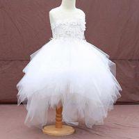 Wholesale Heart Flower Girl Dresses - 2017 White Heart Lace Flower Girl Dresses Ball Gown Summer Girls Pageant Dresses for Weddings Party Dresses Cute Tutu