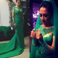 Wholesale Long Green Satin Dress - Green Long Sleeves Evening Dresses Jewel Sheer Neck Lace Appliques Bow Mermaid Prom Dress Sweep Train Zipper Back Satin Fromal Party Gowns