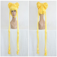 pelucas de la luna del marinero al por mayor-Alta calidad Anime Sailor Moon Lemon Yellow dos trenzas larga ondulado Cosplay peluca 140CM ePacket gratis