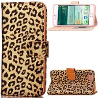 Wholesale flip leopard iphone cases resale online - For Iphone Plus I7 Iphone8 Luxury Leopard Flip Wallet Leather Pouch Case Photo Frame ID Card Stand Cell Phone Colorful Skin Cover
