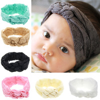 Wholesale Hair Braids Headbands Elastic - Fashion Baby Lace Headbands Girls Braided Hairbands Childrens Cross Knot Hair Accessories Head Wrap Lovely Infant Elastic Headband KHA273