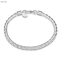 Wholesale Christmas Rope Bracelets - 925 sterling silver plated 4MM twisted rope chain bracelet fashion jewelry wholesale Christmas gifts low price good quality free shipping