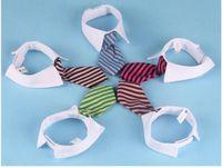 collar del gato corbata de lazo al por mayor-Collar de lazo a rayas de perro mascota Arco de gato Corbata de perro linda Boda ajustable Cachorro rojo / azul / de color caqui