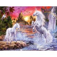 ingrosso bella pittura di cavalli-Due bei cavalli bianchi ricamo a punto croce modello DIY pittura diamante strass pittura 45x35cm HWB-518