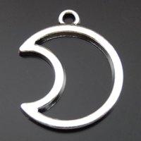 pingente de lua antiga venda por atacado-25 PCS Antique Silver Alloy Oco Moon Charme Pingente Jóias Encontrar 21 * 26mm 39901 jóias fazendo