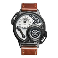 Wholesale Delivery Time - Luxury men's watch double time zone quartz watch personality creative trend leather band waterproof delivery