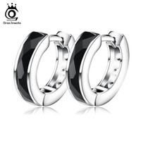 Wholesale Black Rhinestone Hoop Earrings - ORSA JEWELS 2017 Top Quality Fashion Black Natural Stone Earring Lead & Nickel Free Silver Color Earrings Will Not Changed OE83