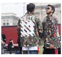 Off White Jacken 2016 Top-Version Männer Frauen Camouflage Jacken Shirts Camo Armee Military Outwear Hiphop Weiß Twill Virgil Abloh