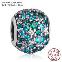 Wholesale Silver Crystal Ball Bracelet - 2016 Summer Ocean Mosaic Charm Beads Fits Pandora Bracelets 925 Sterling Silver Mixed Green Crystal CZ Ball Bead Diy Jewelry