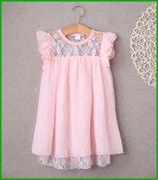 Wholesale Cotton Party Dresses For Toddlers - New 2016 Summer Children Girl Lace Dress Toddler Kids Clothes Cotton Baby Party Princess Dresses For Girls 2-7Years