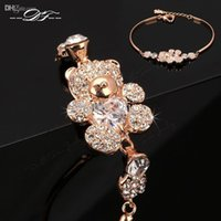 Wholesale Teddy Bears Diamond - Cute Teddy Bear CZ Diamond Crystal Charm Bracelets & Bangles Wholesale 18K Gold Plated Fashion Jewelry For Women & Girls Crystal DFH086
