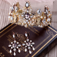 Wholesale Rhinestone Bow Headband Plastic - New 1 Pieces Bridal Gold Crown Earring hair Accessories Baroque Old Wedding Hair headband Vintage Crystal Tiaras Women Party Jewelry