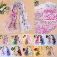 Wholesale unique shawls - Wholesale- Unique fashion style Womens Peony Flower Floral Chiffon Long Soft Neck Shawl Wraps air conditioning thermal scarves