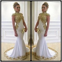 Wholesale High Cover Light - Luxury Long Mermaid Plus Size Evening Dresses With Gold Lace Appliques High Neckline Cap Sleeves Women Formal Dress Gowns
