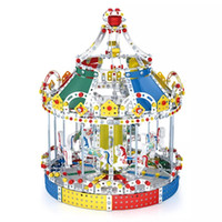 Montaje 3D Modelo de metal Kits Toy Carrusel Merry Go Round con Music Box Building Puzzles 1423pcs Accesorios Construction Play Set