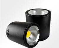 siyah led panel ışık toptan satış-Sıva Üstü LED Downlight Lamba 30 W COB Siyah Tavan Paneli Lampada Otel Bankası Mutfak Aydınlatma Dekorasyon için 220 V 110 V Sıcak beyaz CE ROSH