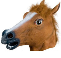 Wholesale Head Horses - 2017 new horse head cover mask animal head decoration Jiangnan wind horse horse Halloween mask mask wholesale