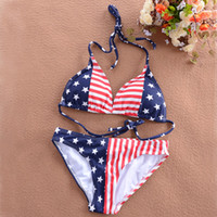 Wholesale Swimsuit Usa Color - Wholesale swimsuits swimwear bikini Flag bikini USA flag swimwear halter triangle America bikini swimsuit with Free shipping