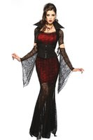 Wholesale Halloween Witch Cosplay - 5 PC Adult Gothic Costume Halloween Dress Costume Witch Vampire Costume Women Masquerade Party Halloween Cosplay Costume GIFT 8836