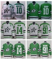 Wholesale Dallas Hockey Jerseys - 2016 Men's Dallas Stars #14 Jamie Benn #91 Tyler Seguin # 10 Patrick Sharp Green Home Premier white Jersey White Hockey Jerseys Stitched Jer