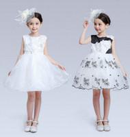 Wholesale Korean Wedding Gown Wholesale - New Baby Girls Fashion Flower Dresses Kids Tutu Lace Princess Dress Korean Summer Toddler Ball Gown Dress Wedding Party Children Clothes