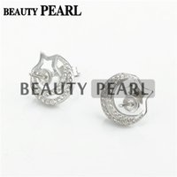 Bulk of 3 Pairs Earring Settings 925 Sterling Silver Zircon Earrings Blank Star e Moon Stud Earrings