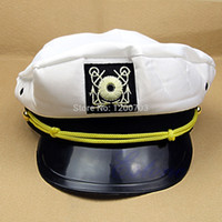 Wholesale Adult Sea Costume - Wholesale-Newest 2015 Cool Handsome Skipper Sailor Boat General Cap Costume Yacht Sea Captain Hat