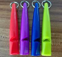 Wholesale Dog Training Dhl - 200pcs DHL Fast shipping Dog whistle Stop Barking Silent Pet Training Plastic Whistle 5 colors