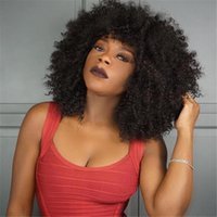 Wholesale Yaki Wigs Bangs - Short Human Hair Wigs Curly Peruvian Hair Full Lace Wig Kinky Curly Wig With Bangs Unprocess Hair Lace Front Wig