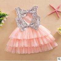 Wholesale multilayer dress - Girls Tiered Dress 2016 Summer Sequins Ruffle Cupcake Dress Layered Dress Baby Girl Dress Cute Bow Multilayer Dress Princess Dress 392