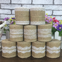 Wholesale Wholesale Rustic Christmas Decor - Wedding Lace Burlap Garland Natural Hessian Ribbon Wedding Roll Rustic Decor New Decorations Linen DIY Manual Volume Flower Decoration