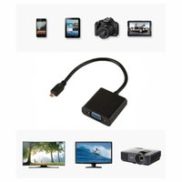 convertidor de cable de video hdmi al por mayor-1080P Micro HDMI macho a VGA Adaptador convertidor de cable de video femenino para PC Portátil Negro al por mayor