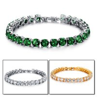 Wholesale Artificial Beads - Copper Platinum Bracelet AAA Cubic Zirconia Inlaid Perfect Artificial Shine Colorful Jewerly Elegent Luxury Superior Quality Girls Accessory