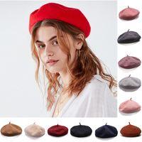 bérets pour les filles achat en gros de-Filles Français 100% Laine Artiste Béret Chapeau Plat Hiver Chaud Peintre Élégant Chapeau Trilby Bonnet Y63