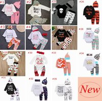 Wholesale 18 Month Christmas Outfit - Over 40 styles XMAS INS NEW Baby Baby Girls Christmas hollowen Outfit Kids Boy Girls 3Pieces set T shirt + Pant + Hat 0-2Years Free