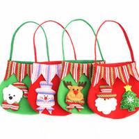 Wholesale santa claus ship - New Christmas Canvas Monogrammable Santa Claus Drawstring Bag With Reindeers, Monogramable Christmas Gifts Sack Bags fast shipping B0765