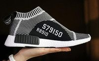 Wholesale Hotsale Shoes - Hotsale New S79150 2016 NMD GLOW IN DARK Mid City Sock Runner Primeknit R1 Black White Stripes Men Women Fashion Running Shoes Sneakers