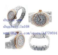 Wholesale Ladies Rose Gold Chronograph Watch - Luxury Women's Ladies white Ceramic diamond Rose Gold Watch Fashion Swiss Quartz Ladys Chronograph Watches