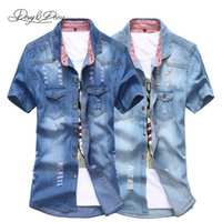Commercio all'ingrosso di vendita-Hot Men Denim Camicia Casual manica corta turn-down Collo solido di modo Ripped Uomini camicia lavato Cowboy Camisa Masculina DS-060