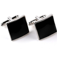 Wholesale plated mens silver cufflinks for sale - Formal Occasion Business Cufflinks Square Black Brand Mens French Cuff Links For Sleeve Geometric Rectangle High Quality French Cufflink