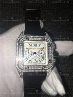 ingrosso diamanti d'argento orologi gli uomini-Orologio al quarzo pieno di diamanti Santos100 Movimento al quarzo cronografo di alta qualità Orologio da uomo in argento Wtahc in argento 100 xl 316 orologio l