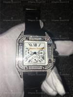 movimento da cronógrafo de quartzo venda por atacado-Santos100 Relógio De Diamante Cheio De Alta Qualidade Cronógrafo Movimento De Quartzo Homem De Luxo Relógio De Prata Wtahc 100xl 316 relógio Inoxidável l