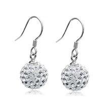 Wholesale Silver Drop Earrings Balls - Big Crystal Earrings For Women Shamballa Ball Wedding Jewelry White Purple Red Pink Blue Bridal Drop Earrings Fashion New Jewelry