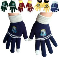 Wholesale Fan Gloves - Harry School Gryffindor Slytherin Ravenclaw Hufflepuff Gloves Badge Five Fingers Gloves Cosplay Potter Fans Christmas Gift Drop Shipping