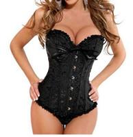 Wholesale black brocade corset - Women Sexy Satin Corset Brocade Floral Bustier Top Lace Up Back Lingerie Bodyshaper Shapewear Waist Corsets S~6XL