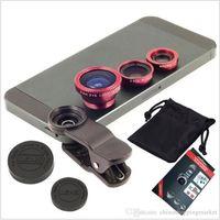 samsung s5 camera 도매-유니버설 클립 3 in 1 Fish Eye Lens 와이드 앵글 매크로 휴대 전화 카메라 유리 렌즈 Fisheye for iPhone 6 삼성 S5 S6 S7 가장자리 용 6Plus 5s