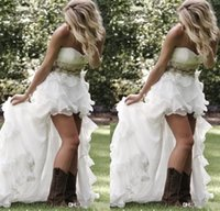 Wholesale Sweep Beads Sweetheart - 2016 Cheap Short Country A Line Wedding Dresses Sweetheart Top Crystal Beads High Low Organza Ruffles Tiered Sweep Train Formal Bridal Gowns