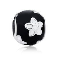 collar floral blanco al por mayor-Auténtica plata de ley 925 encantos florales flor mística con negro blanco esmalte para diy con cuentas del encanto pulseras collares S350