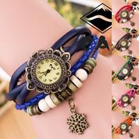ingrosso le ragazze di cuoio dell'orologio del braccialetto dell'annata-All'ingrosso-Top qualità delle donne in pelle Vintage orologio da polso Orologi da polso Snowflake Pandent Retro Watch Beautiful Girl Lady Hot Vintage
